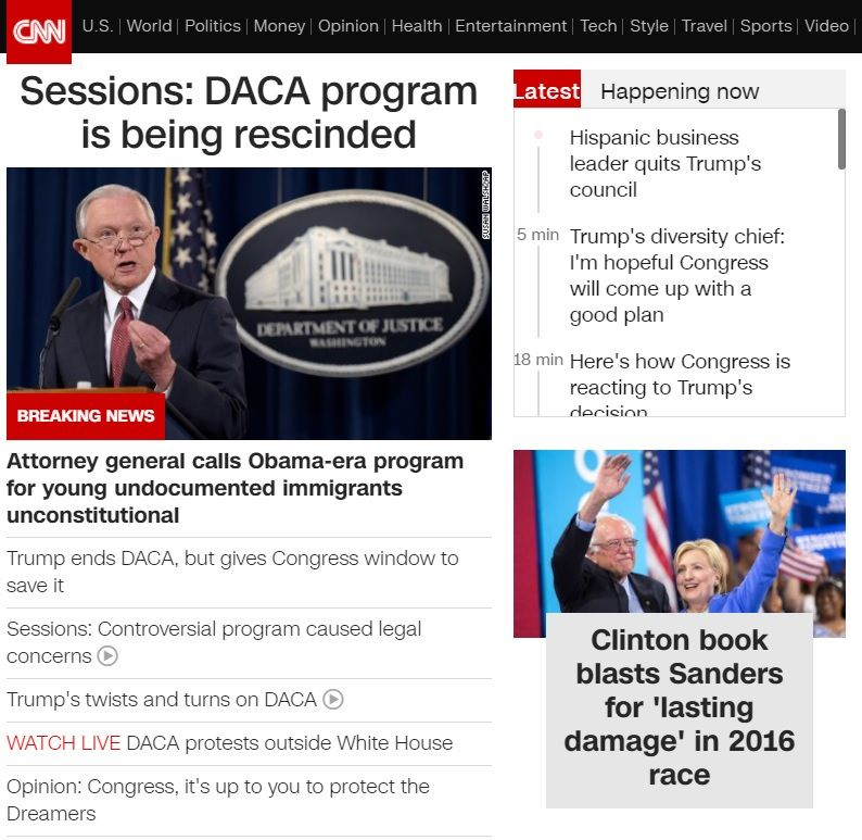 CNN front page Sessions: DACA program is being rescinded